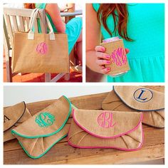 NEW Burlap bags have arrived on our Palmetto Moon Monogramming website! (Only Online) palmetto-moon-monograms.com