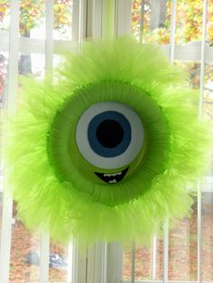 Dancin' With A Dolly: Monster On The Way. monsters inc , mike wazowski wreath, tulle wreath, monster wreath