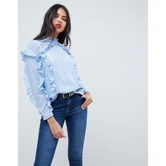 ASOS Lace Insert Ruffle Blouse (870 EGP) ❤ liked on Polyvore featuring tops, blouses, blue, ruffle top, blue blouse, flutter-sleeve tops, chiffon tops and woven blouse