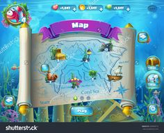 Atlantis Ruins Playing Field - Vector Illustration Level Map Screen To The Computer Game User Interface. Background Image To Create Original Video Or Web Games, Graphic Design, Screen Savers. - 433596712 : Shutterstock