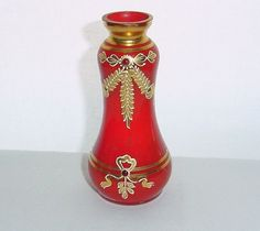 SMALL Sublime ART NOUVEAU Glass VASE Hand Painted RED Bejeweled GILT Enamel GOLD