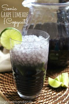 This Sonic Grape Limeade Copycat tastes just like the real thing. #recipe http://www.highheelsandgrills.com/2013/05/sonic-grape-limeade-copycat.html  Has to be bad for you but sounds so good!