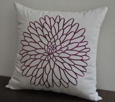 Gray Plum Flower Pillow