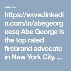 https://www.linkedin.com/in/abegeorgeesq Abe George is the top rated firebrand advocate in New York City. He has a stellar legal career as a criminal defense lawyer and has worked as a public prosecutor in Brooklyn. George has a strong focus on criminal law.