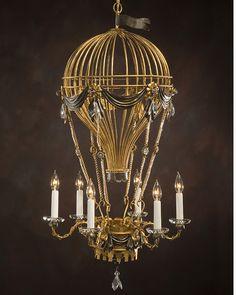 air balloon chandelier in antiqued goldleaf and Swarovski crystal
