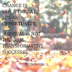 """Quote of the day: """"Change is not a threat, it's an opportunity. Survival is not the goal, transformative success is."""" - Seth Godin"""