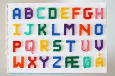 decorate your kid´s room with the alphabet made of pearler beads (HAMA) Perler Bead Designs, Diy Perler Bead Crafts, Perler Bead Templates, Hama Beads Design, Diy Perler Beads, Hama Beads Patterns, Perler Bead Art, Beading Patterns, Pearler Beads