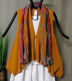 Lagenlook m.p.by Style, Weste, orange, Figurschmeichler, A-Linie, Zipfel, Gr. 3