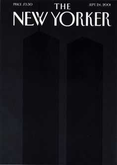 """Spt 24, 2001 Editor Franoise Mouly repositioned Art Spiegelmans silhouettes, inspired by Ad Reinhardt's black-on-black paintings, so that the north tower's antenna breaks the """"W"""" of the magazine's logo. Spiegelman wanted to see the emptiness, and find the awful/awe-filled image of all that disappeared the on 9/11. The silhouetted Twin Towers were printed in a fifth, black ink, on a field of black made up of the standard four color printing inks."""