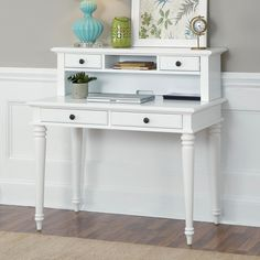 Have to have it. Home Styles Bermuda Brushed White Student Desk with Optional Hutch - $257.15 @hayneedle