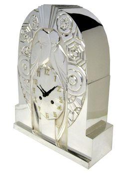 French Art Deco Silver over Bronze Clock