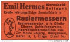 Original-Werbung/Anzeige 1918 - RASIERMESSER / EMIL HERMES MERSCHEID- SOLINGEN -  ca. 45 x 25 mm