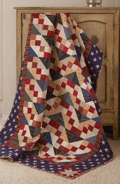 SALUTING YOU by Candy Hargrove: Easy block quilt patterns are a fun way to enjoy piecing and assembling and these easy quilt blocks help you do just that. The quilt top is made up of one simple block — easy enough for a beginner. Candy Hargrove designed this Quilt of Valor using patriotic-colored scraps. This quilt uses prints in cream, tan, red and blue and can be easily pieced by a novice, but thoroughly enjoyed by a seasoned quilter.