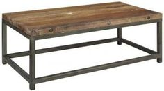 rustic, weathered look coffee table - crafted of century-old reclaimed wood, iron base coffee table, industrial look $249