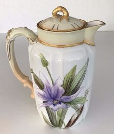 EARLY HAVILAND LIMOGES (H&Co) HAND PAINTED IRIS COFFEE CHOCOLATE POT SIGNED EXC!