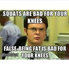 squats are bad for your knees...FALSE! Being fat is bad for your knees!!!