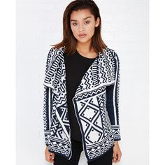 Wild Heart  Tribal Pattern Cardi With Cascade Front ($30) ❤ liked on Polyvore featuring tops, cardigans, blue, wet seal, knit tops, white knit cardigan, wet seal tops, blue top and fuzzy white cardigan
