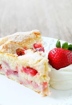 French Strawberry Cake Great recipe. Made in a spring form pan. Take out cake while warm.  BW