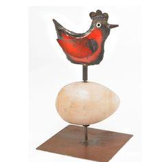 Chicken and Egg Sculpture Reclaimed Farm Metal by TheSteelFork, $265.00