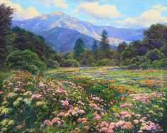 Dirk Foslien - California Spring- Oil - Painting entry - June 2012 | BoldBrush Painting Competition Abstract Landscape Painting, Landscape Art, Landscape Paintings, Scenery Paintings, Nature Paintings, Spring Scenery, Artistic Wallpaper, Mountain Waterfall, Painting Competition