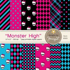 These printable Monster High inspired background digital papers are ideal for creating various art projects such as scrapbook layouts, Monster High Birthday, Monster High Party, Sewing Doll Clothes, Sewing Dolls, Monster High Dollhouse, Monster High Doll Clothes, Kids Birthday Cards, Disco Party, Frozen