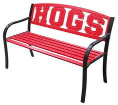 University of Arkansas Metal Bench on BourbonandBoots.com