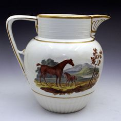 English pottery pitcher with hand painted horse and foal. c1820