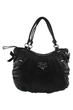 Emelie Black Crinkled Signature by Guess || #Handbags #onlineshopping