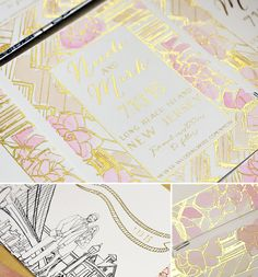 A Peek into the Studio - 10 Amazing Save the Dates, Custom Save the Dates, Hand Painted Wedding Stationery Wedding Stationery, Wedding Invitations, Invites, Save The Date Cards, Watercolor Illustration, Gold Foil, Custom Design, Greeting Cards, Dating