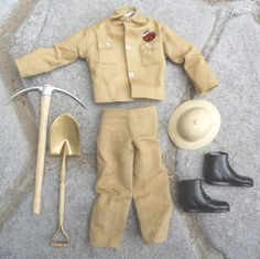 Vintage GI JOE Secret of the Mummy's Tomb OUTFIT SHOVEL PICK HAT BOOTS CLOTHES Gi Joe, Barbie Friends, Toy Soldiers, Old Toys, Shovel, Toys For Boys, Man, Barbie Dolls, Warehouse