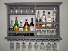 Mini Bar Weathered Gray wine rack liquor cabinet 3' X