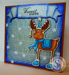 Spectrum Noir September 2015 challenge - Wet or Dry embossing. Nordic Christmas Reindeer Parade embossing folder. Reindeer from Nordic Christmas Christmas Cheer stamp set,colored with Spectrum Noir pencils. Body - 101, 097, 091, 086 Eyes/Ears/Nose - 086, 006 Antlers - 101, 97, 91 Scarf/Boots/Hat - 73, 70, 67, 64 Saddle - 073, 070, 067, 064 Hat/Boot poms - 113, 112 Lights - 067, 039, 045, 027, 014