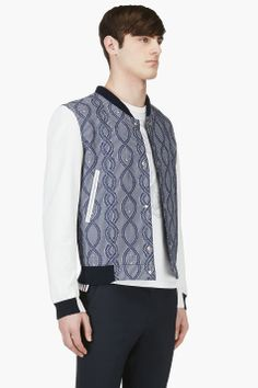 THOM BROWNE Blue Jacquard & Leather Bomber Jacket