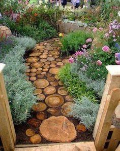 Round wooden log pieces for walk way!