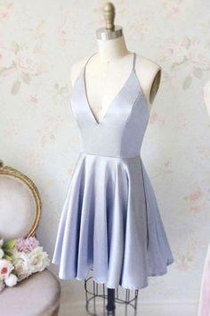 2018 Chic A-line V Neck Homecoming Dresses Short Prom Dress Simple Homecoming Dresses - Kleider Simple Homecoming Dresses, Simple Dresses, Cheap Dresses, Cute Dresses, Sexy Dresses, Casual Dresses, Fashion Dresses, Elegant Dresses, Short Blue Dresses
