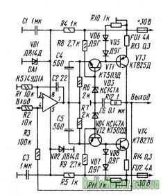 Усилитель мощности состоит из каскада усиления напряжения на быстродействующем ОУ DA1 и выходного камскада на транзисторах VT1 - VT4. Транзисторы комплементарной пары предоконечного каскада (VT1 - VT2) включены по схеме с общей базой, а оконечного (VT3 - VT4) - с общим эмиттером. Такое включение Linux Kernel, Audio Amplifier, Sheet Music, Linux, Music Sheets
