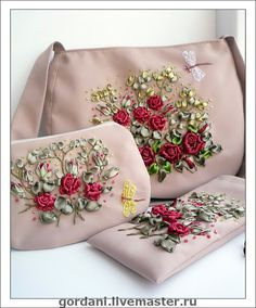 Wonderful Ribbon Embroidery Flowers by Hand Ideas. Enchanting Ribbon Embroidery Flowers by Hand Ideas. Embroidery Purse, Ribbon Embroidery Tutorial, Hand Embroidery Videos, Silk Ribbon Embroidery, Hand Embroidery Designs, Embroidery Techniques, Embroidery Stitches, Floral Embroidery, Crazy Quilting