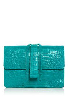 Turquoise Crocodile Top Handle Bag - Nancy Gonzalez Resort 2016 - Preorder now on Moda Operandi