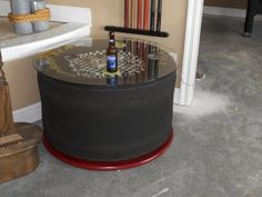 Table for a man cave out of a racing slick