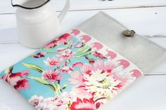 Elephant and Hawaiian Floral and Linen iPad & Tablet Case or Macbook & Laptop Case