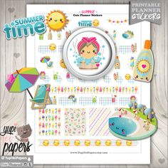 Summer Stickers, Planner Stickers, Pool Stickers, Swimming Stickers, Suntan Stickers, Bronzer Stickers, Hot Tub Stickers, Erin Condren