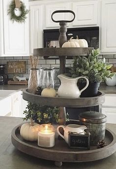 Tiered stand, linen wreath tie - Home Page Country Farmhouse Decor, Farmhouse Kitchen Decor, Fall Home Decor, Diy Home Decor, Kitchen Tray, Kitchen Soffit, Kitchen Island Decor, Kitchen Islands, Sweet Home