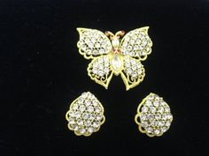Weiss Enameled Butterfly Brooch with Rhinestone clip on earrings