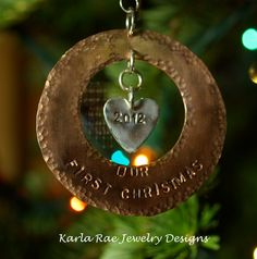 First xmas together, hammered copper and sterling silver  Karla Rae Jewelry Designs