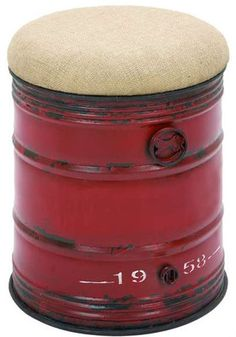 69249 AMBHome Vintage Inspire Stool In Unique Oil Drum Shape. A simple and attractive stool in the unique style of an industrial oil drum. This handsomely made stool is made into a solid oil barrel shape with aged chips and dents. But as tough and rugged Oil Barrel, Metal Barrel, Metal Drum, Metal Stool, Vintage Drums, Vintage Cars, Oil Drum, Creation Deco, Rustic Industrial