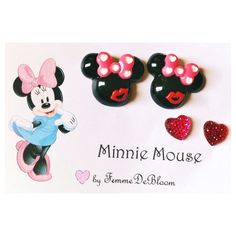 """Handmade """"Love and Kiss"""" Minnie Mouse earrings and heart studs disney jewelry  on Etsy, $7.00"""
