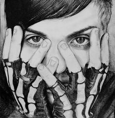 Frank Iero with his skeleton gloves