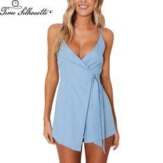 c89a98cd0e22 2017 women Summer romper sexy deep v-neck rompers Elegant jumpsuits beach  sleeveless overalls zipper Backless playsuit L49