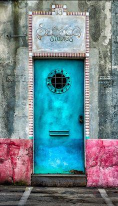 Santa Barbara, California; blue door, pink and gray walls