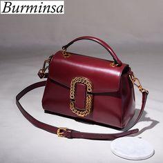 Burminsa Brand Flap Genuine Leather Crossbody Bags
